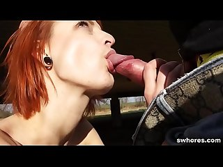 Redhead anorexic punker street whore sucking cock really good