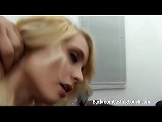 Tight blonde teen anal creampie on casting couch