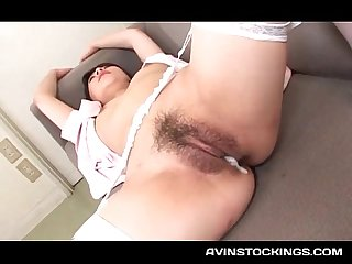 Jap doc gifting her stockinged nurse with a cunt creampie