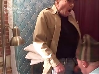 Old grandpa getting his cock sucked by shy guy