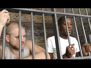 Interracial gay sex in the prison