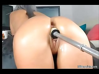 Hot nice ass girl likes anal dildo fucking machine