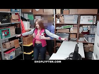 Shoplyfter busty teen fucks cop and mom watches