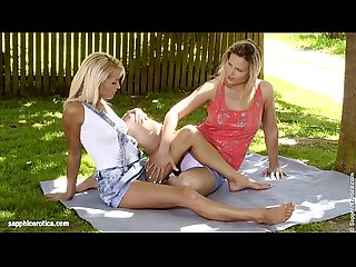 Picnic oral by sapphic erotica sensual lesbian sex scene with sunshine and jol