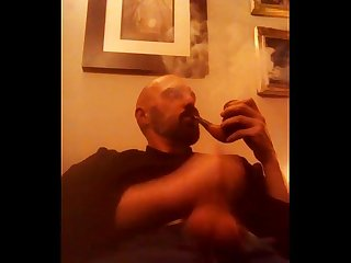 Huge pipe smoking and poppers pipe wank