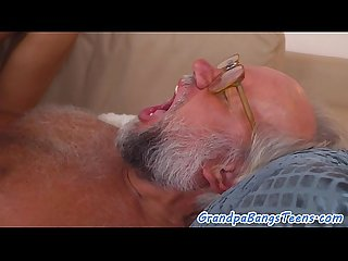 Perfect babe fucks oldman