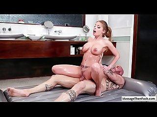 Sexy big tit blonde masseuse Britney Amber ride her clients cock during nuru massage session