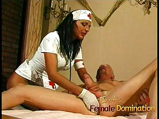 Busty nurse fucks her kinky patient with a giant strap on
