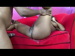 Ebony pragnany bitch Vanessa Rain takes hard cock in her pussy on her couch