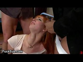 Two horny dudes on redhead girl bdsm