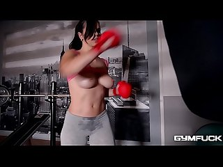 Gym fuck masturbation vid shows Nekane working out before fingering herself