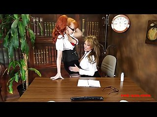 Horny and Busty MILFS bang on the office desk