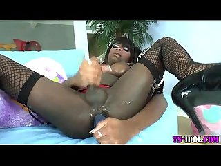 Ebony tgirl tugs and cums