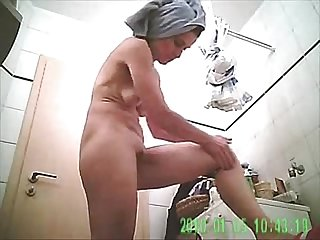 Caught her naked in bathroom on my hidden camera