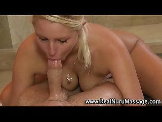Masseuse babe sucking cock