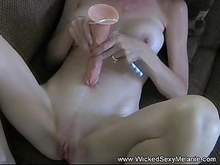Toying cum swallower slut