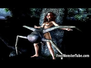 Hot 3d brunette gets fucked hard by an alien spider