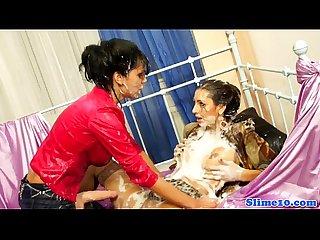 Bukkake loving femdom sprays euro lesbian