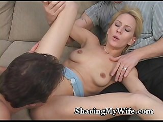 Tiny wife S pussy stretched by thick cock