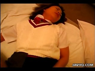 Asian schoolgirl getting fucked in her hairy bush missionary style