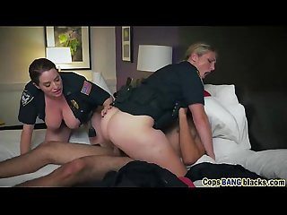 Big tits female cops riding threesome interracial