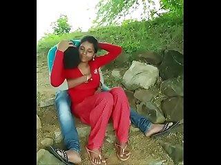 Boy girl enjoy in open area boob press and enjoying