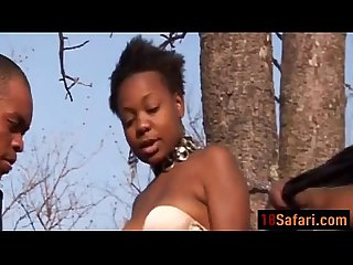 Safari tourist guide pretty African babe captive treated as sex slave outdoor