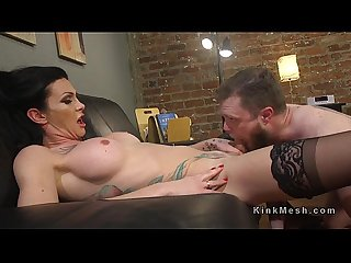 Obsessed tranny anal bangs man in uniform