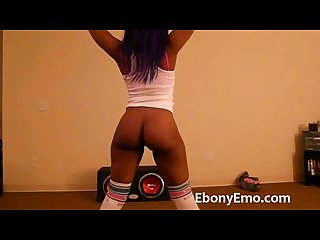 Ebony emo with nice booty dance nude in socks