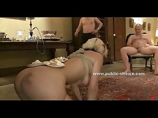 Blonde served for dinner in public orgy