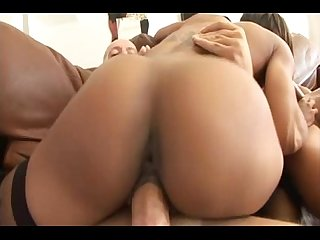 Ebony Girl WIth Nice Ass Takes On 2 Big Dicks