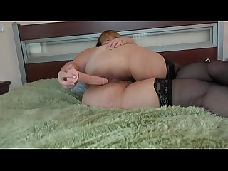 A fat girl masturbates her ass and a hairy pussy