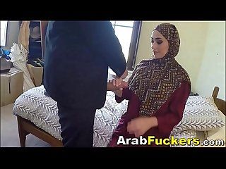 Big white cock for cash starved Arab girl