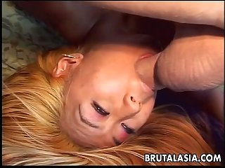 Blonde slut deepthroats and then gets ravaged on the couch
