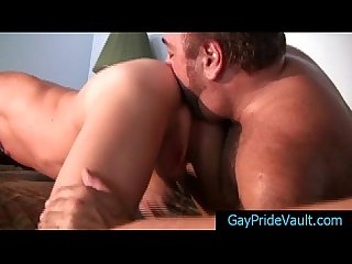 Blond is getting his ass rimmed by bear by gaypridevault