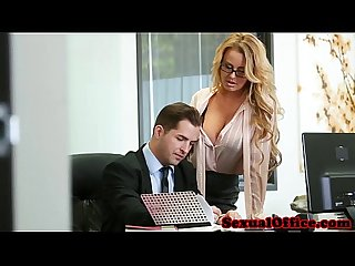 Busty office secretary fucked on bosses desk