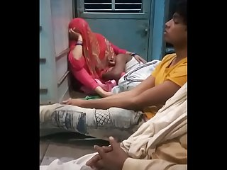 Indian Couple Enjoy in Public Train