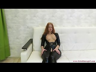 Redhead Catsuit Girl Shows Her Big Ass