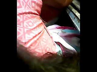 Theni married young girl enjoying Boob press in Bus
