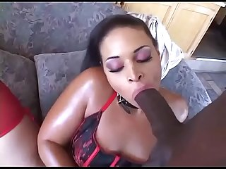 Curvy black chick sucking a real big black cock
