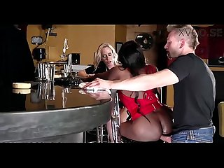 Ebony and ivory anal threesome