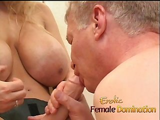 Busty milf Dominatrix humiliates her slave with some hardcore pegging 6