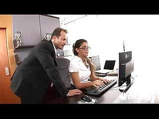 Sexy secretary gets her ass ripped open by her boss at the office