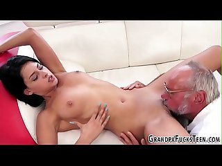 Teen tongued by old perv