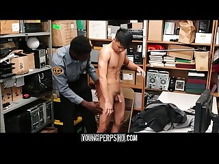 Straight Asian Twink Caught Shoplifting Fucked By Black Gay Officer