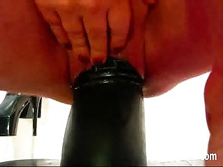 Giant dildos and butt plugs tear her hole apart