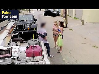Slutty young bitches are having wild threesome in tow truck