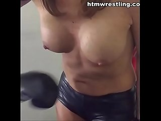 Fake tits punched in slow motion