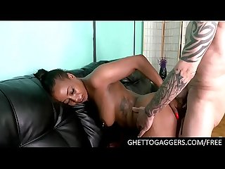 Chubby black slut ass fucked by 2 guys