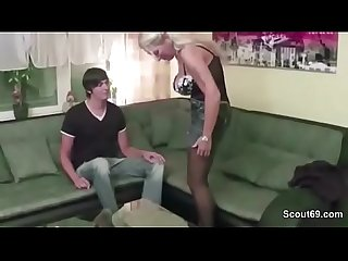 German milf mother claudi seduce young boy to fuck her